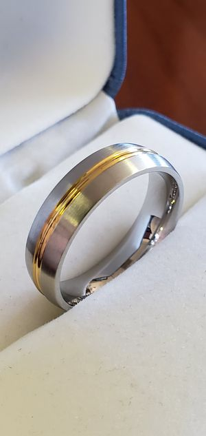 Stainless Steel Band, Gold Plated Center Strip, Ring Size 5, 6, 7, 8, 9, 10, 11, 12 & 13 for Sale in Portland, OR