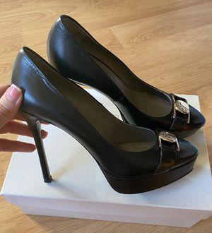 VERSACE Black leather Platform Pumps Gold Logo Medusa Heels Shoes EU 38 for Sale in Alexandria, VA