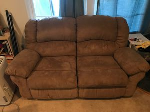 Microfiber brown couch dual recliner for Sale in Centreville, VA