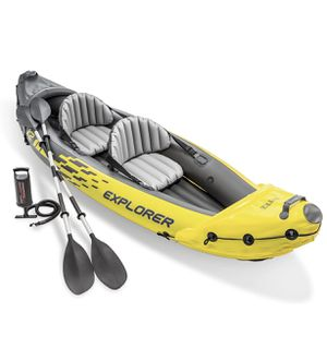 ntex Explorer K2 Kayak, 2-Person Inflatable Kayak Set with Aluminum Oars and High Output Air Pump for Sale in Hacienda Heights, CA