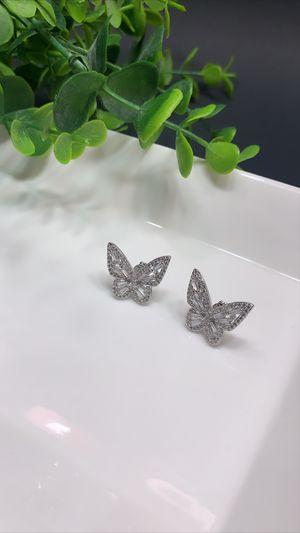 925 Sterling Silver Cubic Zircon Butterfly Stud Earring for Sale in Los Angeles, CA