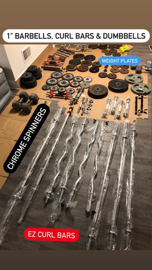 "1"" Barbells, Curl Bars, Dumbbells, weight plates (prices in description) for Sale in Ramsey, NJ"