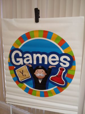 Vinyl wall hanging - games - room - sorry - Monopoly - play - watch - kids - adult - arcade - arena - store - window for Sale in Naples, FL
