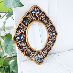 Antique Ornate Wood Reverse Painting Art Small Frame Medallions Accent Mirror for Sale in Bartlett, IL
