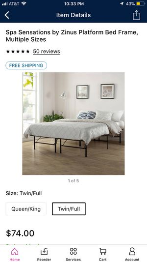 Twin / Full bed frame from Spa sensations by Zinus for Sale in Cleveland, OH