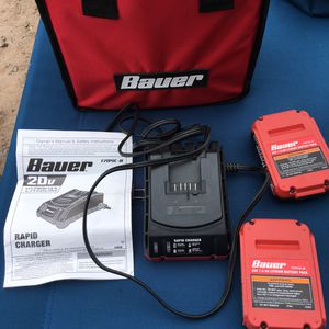 Bauer 20v Lithium 1.5 Ah 2 Battery and Charger and bag for Sale in Albuquerque, NM