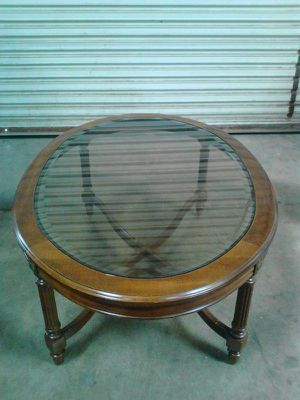 Oval Glass Top Wood Coffee Table for Sale in San Diego, CA