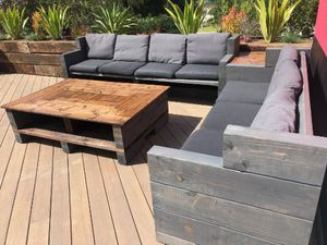 Outdoor Furniture Farmhouse Rustic Furniture Wood Patio Set Comfy outdoor Sofas and Table Set ( 2 Sofas, 1 Coffee Table, 1 Side/end Table) for Sale in Santa Fe Springs, CA