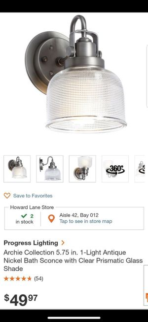 . 1-Light Antique Nickel Bath Sconce for Sale in Manor, TX
