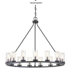 Progress Lighting Hartwell 15-Light Graphite Chandelier with Antique Nickel Accents and Clear Seeded Glass for Sale in Dallas,  TX