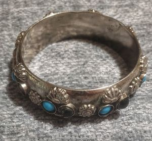 Vintage turquoise and black stone silver bracelet for Sale in Phoenix, AZ