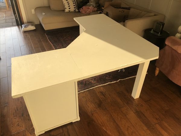 Pottery Barn Desk with Filing Cabinets