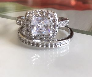 Sterling silver white Sapphire Engagement/Wedding Ring for Sale in Denver, CO