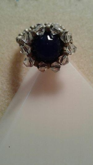 Genuine blue agate swarovski crystal beaded ring for Sale in Stuart, FL
