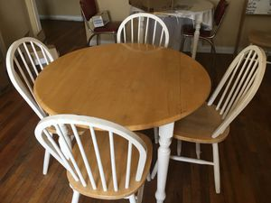 Used Wood table and chair (sides fold down for your convenience)set $50 or best offer for Sale in Laveen Village, AZ