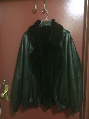 Reversible rabbit/leather jacket for Sale in Silver Spring, MD