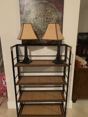 Shelf with 4 tiers, small matching trunk, 2 lamps and picture for Sale in Princeton, FL