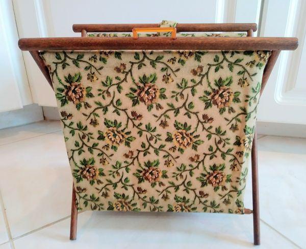 Vintage Floral Fabric Magazine Rack Folding Storage Bin Mid Century Retro
