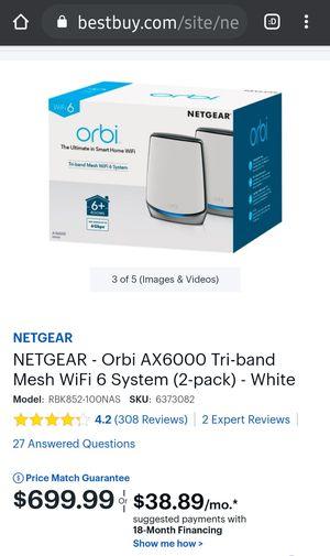Netgear orbi Tri-band Mesh WiFi 6 System for Sale in Seattle, WA