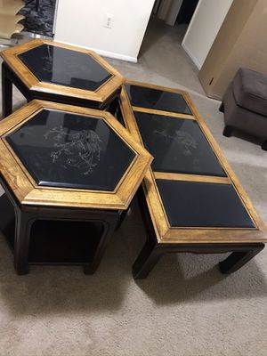 """Still available one of the kind heavy 3 pc coffee table set carved jade top with wood center 15x52""""two side 21x27"""" pick up Gaithersburg md 20877 for Sale in Gaithersburg, MD"""