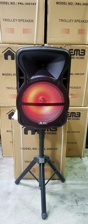 1500 watts Brand New 12 inch rechargeable speaker with bluetooth, fm radio, aux and USB connection. Includes a Microphone for Karaoke. for Sale in Miami, FL