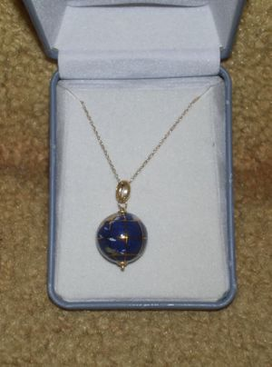 14k Yellow Gold Lapis Inlaid Gemstone World Globe Charm Pendant for Sale in Silver Spring, MD