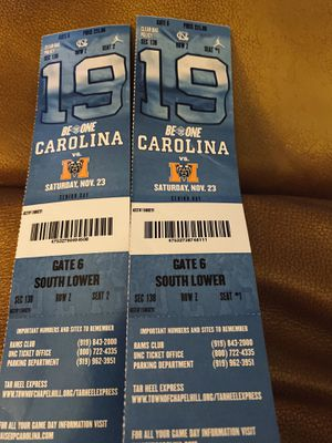 Unc vs Mercer lower level tickets! $70.00 for both for Sale in Winston-Salem, NC