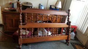 Antique Ethan allen hardwood bed frame headboard and baseboard set. for Sale in Tampa, FL