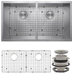 "AKDY KS0062 32"" x 18"" x 9"" Under Mount 50/50 Double Bowl Kitchen Sink w/ Drain & Grid for Sale in Walnut, CA"