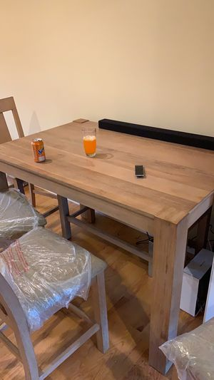 Tall Dining Set Table (includes 4 chairs + 1 bench with extra storage) for Sale in Glastonbury, CT
