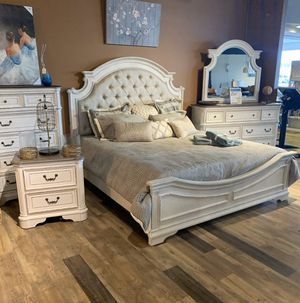 NEW - King or Queen Distressed Whitewash Upholstered Bed Frames - Sets Also Available for Sale in Charleston, SC