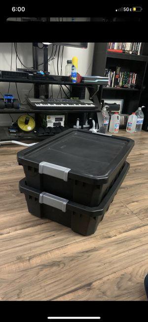 Black Sterilite plastic storage box container, stackable for Sale in Chula Vista, CA