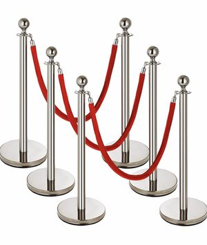 Mophorn 6Pack Stainless Steel Stanchion Post, 4 Red Velvet Ropes Queue Rope Barriers, 38In Crowd Control Barrier Queue Line, Crowd Control Poles, for for Sale in Rancho Cucamonga, CA