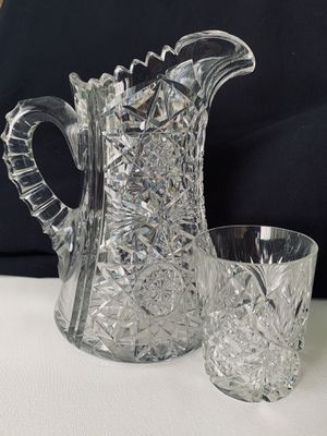 Antique deep cut clear lead crystal water pitcher and four glasses. for Sale in Jupiter, FL