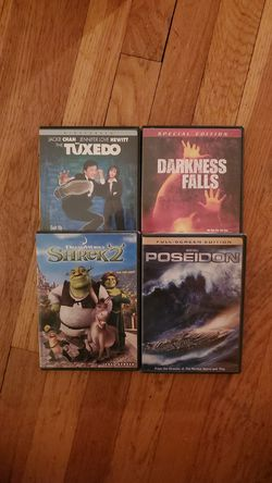 Poseidon, Shrek 2, Darkness Falls & The Tuxedo DVD (Lot of 4) for Sale in West New York,  NJ