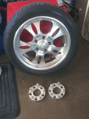 Set of four 5 lug. Billet specialties Chevy rims good tread size 245/45zR17 with spacers $ 500 for the set for Sale in Glendora, CA