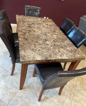 Marble dining room table with 6 chairs for Sale in Boynton Beach, FL
