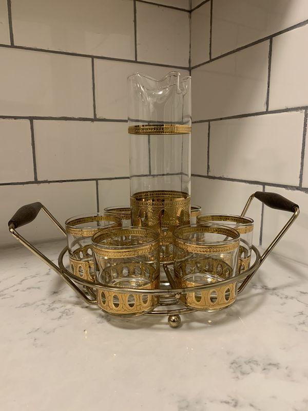 Vintage Culver Martini Set 22k Gold Antigua Mid Century Barwear Glasses