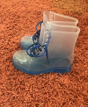 Rain boots-clear with blue soles. for Sale in San Diego, CA