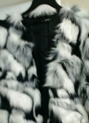 BLACK AND WHITE FAUX FUR JACKET, NEW, NEVER WORN for Sale in Santee, CA