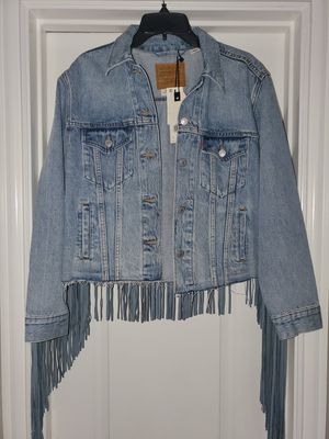 Levi Ex boyfriend fringe trucker jacket for Sale in Arlington, TX
