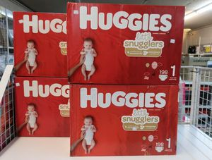 Huggies Little Snugglers 198 Ct Size 1 Baby Diapers Plus Pack for Sale in Mesa, AZ