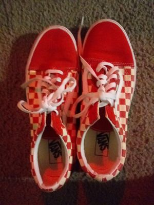 Red and white checkered vans size 11.0 men for Sale in Hayward, CA