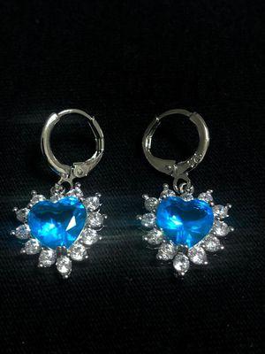 Sterling Silver Ocean Blue Heart CZ earrings for Sale in Las Vegas, NV
