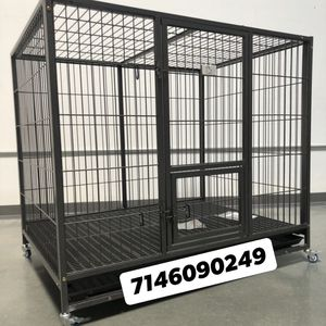 """Heavy Duty Dog Pet Cage Kennel Size 50"""" XL With Plastic Floor Grid Tray And Wheels New In Box for Sale in Chino, CA"""