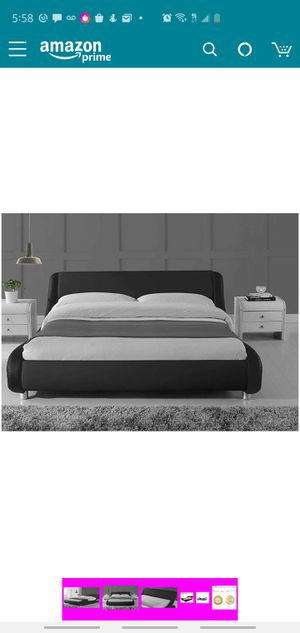 Full Size Bed Frame Deluxe Solid Modern Platform Bed with Adjustable Headboard,Leather Bed Frame with Wood Slat Support,Black for Sale in Eden Prairie, MN