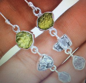 Moldavite, Meteorite Campo Del Cielo and Herkimer Diamond 925 Sterling Silver Earrings for Sale in Bent, NM
