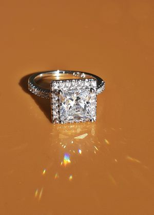 Princess Cut White Sapphire 925 Silver Ring Size 6 Stamped for Sale in Union, WA