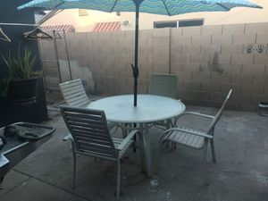 Outdoor Pool Table W/ 4 Pool Chairs And Umbrella (Read Description) for Sale in Phoenix, AZ