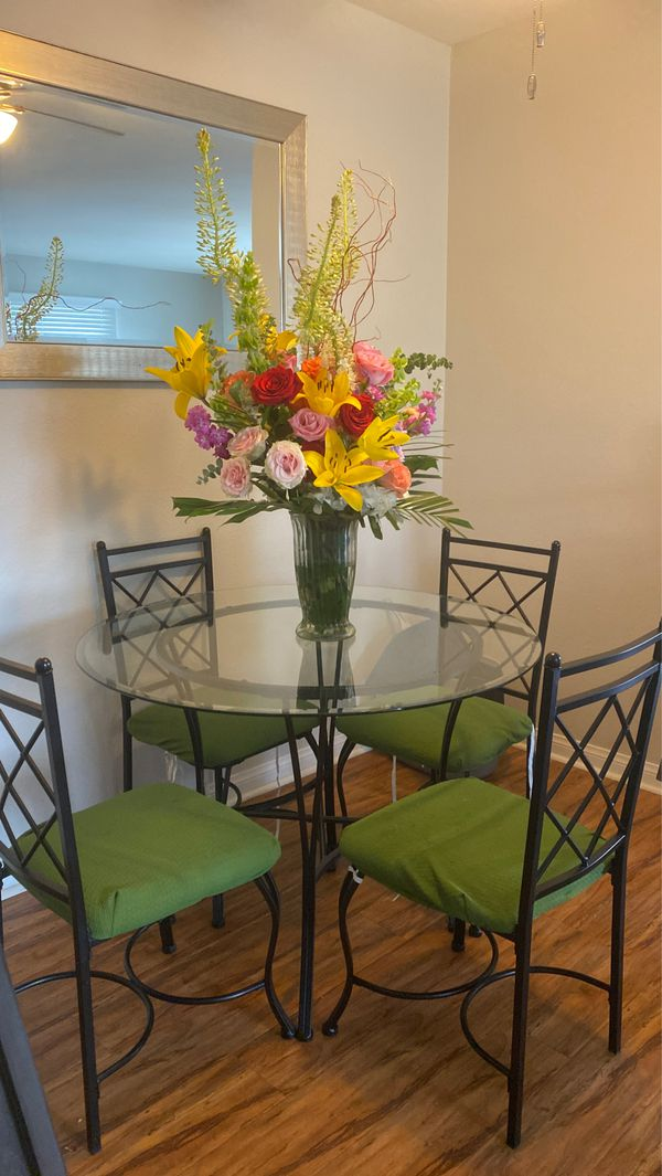 5 Piece Glass Top Dining Table